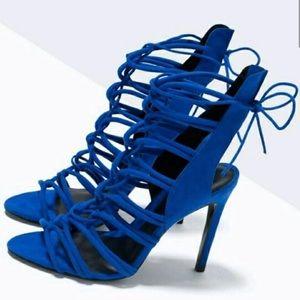 Zara Heels Cobalt Blue Lace Up Tie Up heels 7.5